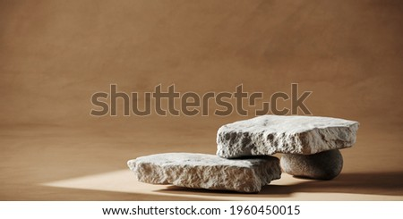 Summer mockup concept for product presentation. White stones platform on brown stucco background. Clipping path of each element included. 3d rendering illustration.