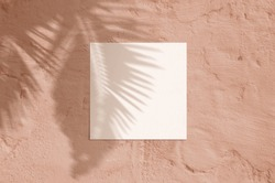 Summer modern sunlight stationery mockup scene. Flat lay top view blank greeting card with palm leaf and branches shadow overlay on grunge terracotta background.