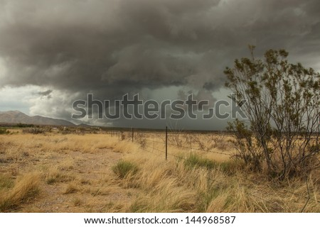 Summer monsoon with thunderstorm, wind, gray cloudy sky over semi-desert grassland in landscape /Thundercloud Sky over Dry Semi-Desert Grass Landscape during Storm/Monsoon storm in semi desert