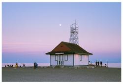 Summer Moonrise over Toronto Beach Lifeguard Station (landscape)