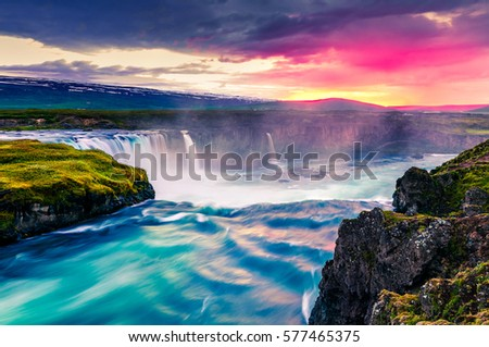 Summer morning scene on the Godafoss Waterfall. Colorful sunrise on the on Skjalfandafljot river, Iceland, Europe. Artistic style post processed photo. #577465375