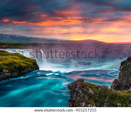 Summer morning scene on the Godafoss Waterfall. Colorful sunset on the on Skjalfandafljot river, Iceland, Europe. Artistic style post processed photo. #455257255
