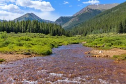 Summer Mountain Creek - Mineral-rich Geneva Creek running in a lush green valley at base of high peaks of Continental Divide, near Guanella Pass, Grant, Colorado, USA.