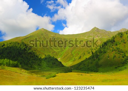 Summer mountain landscape around Sertig Dorfli, Davos, Switzerland