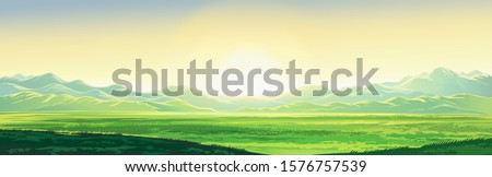 Summer mountain landscape, dawn over the valley, elongated format. Raster illustration.