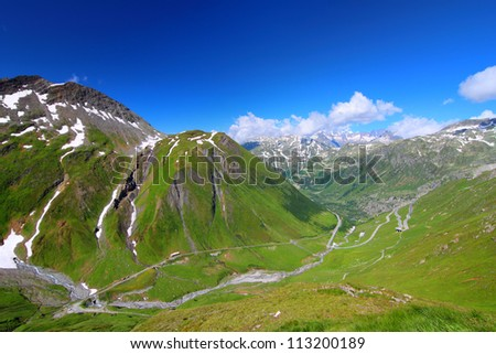 Summer mountain landscape Furka Pass, Switzerland