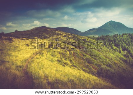 Summer mountain landscape. Hiking trail in the hills. Filtered image:cross processed vintage effect.