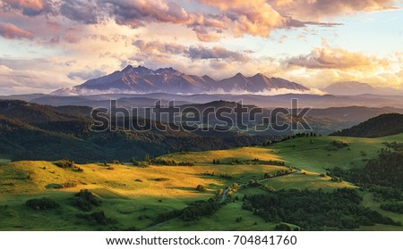 summer mountain landscape in...