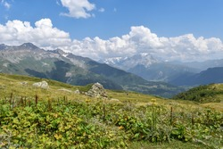 Summer mountain landscape in Svaneti region, Georgia, Asia. Snowcapped mountains in the background. Blue sky with clouds above. Georgian travel destination.