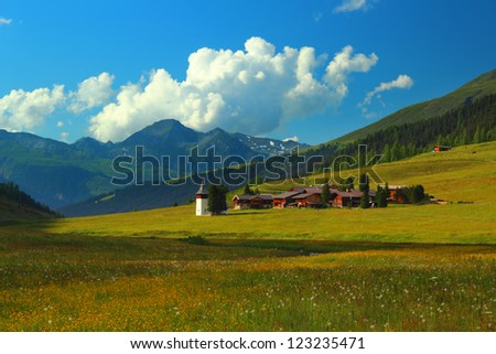 Summer mountain landscape, municipality Sertig Dorfli, Davos, Switzerland