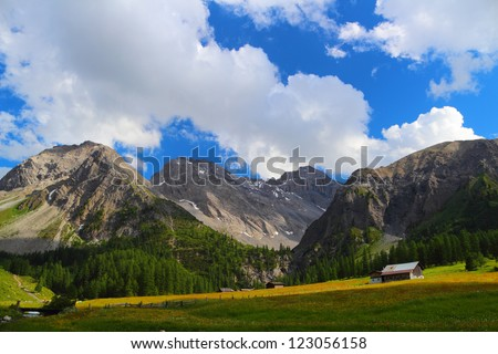 Summer mountain landscape with chalet on a meadow in the foreground, Sertig Dorfli, Davos, Switzerland