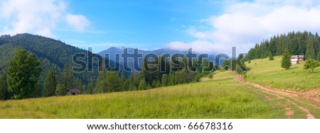 Summer mountain landscape with rural road and house. Two shots composite picture.