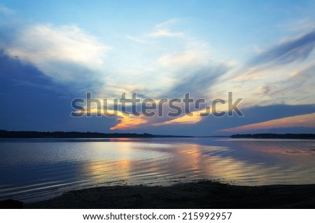 Summer nature, scenery.  Sunset on the river Volga