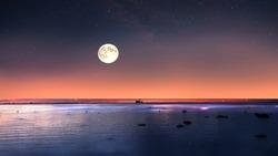 summer night moon on night starry sky at sea sunset  night sky stars summer night  sea dark blue water moonlight  sunset background nature