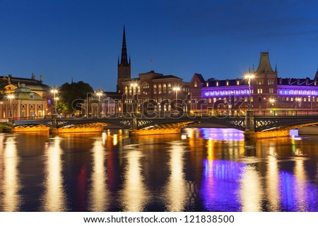 Summer night scenery of the Old Town (Gamla Stan) in Stockholm, Sweden - stock photo
