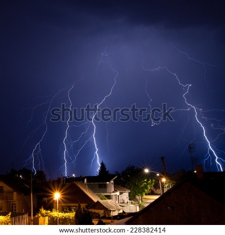 Summer night storm landscape