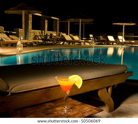 summer nights in the swimming pool of the hotel