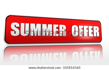 summer offer red 3d banner with text