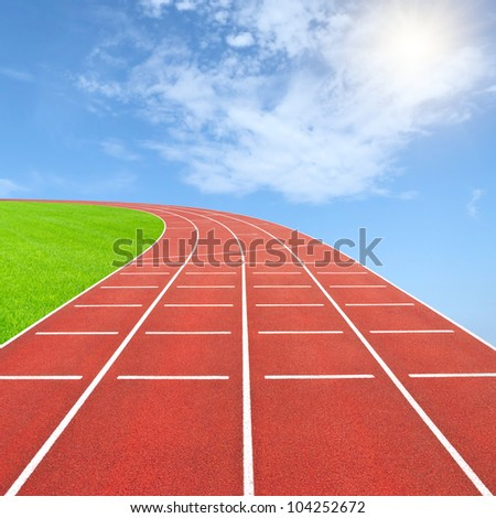 Summer olympics template from running track and sky - stock photo