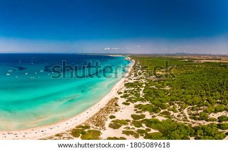 Summer on Majorca Es Trenc ses Arenes beach in Balearic Islands, Spain, July 2020 Stock fotó ©
