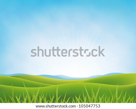 Summer Or Spring Meadows Background/ Illustration of a spring or summer landscape in a bright cloudy sky with green fields  and meadows and grass in the foreground
