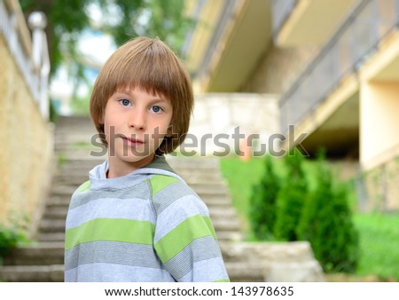 Summer outdoor portrait of cheerful calm carefree little boy