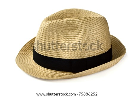 Summer panama straw hat isolated on white #75886252