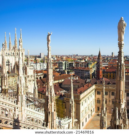 Summer panorama from Duomo roof Milan Italy