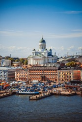 Summer panorama of Helsinki from water, Finland