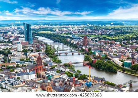 royalty free stock photos and images summer panorama of the financial district in frankfurt. Black Bedroom Furniture Sets. Home Design Ideas