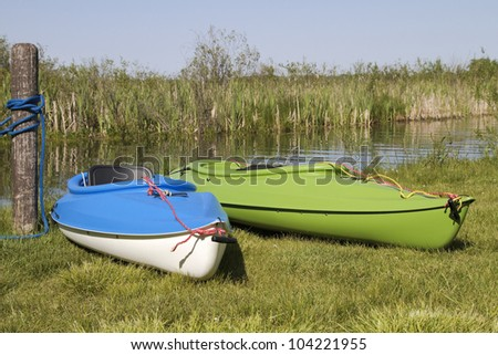 Summer Pastime -- Kayaks ready for the water - Rockford, Michigan, USA