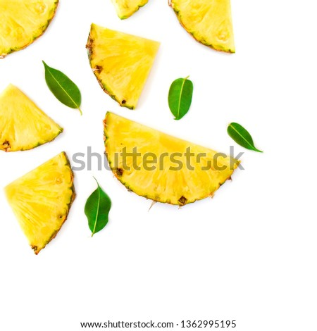 Summer Pattern with Slices of Pineapple Isolated. Exotic fruit Pineapple chunks  on white background. Flat lay. Summertime concept #1362995195