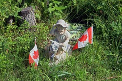 Summer photo of a lovely looking decorative lawn statue in Ballycanoe Ontario Canada.