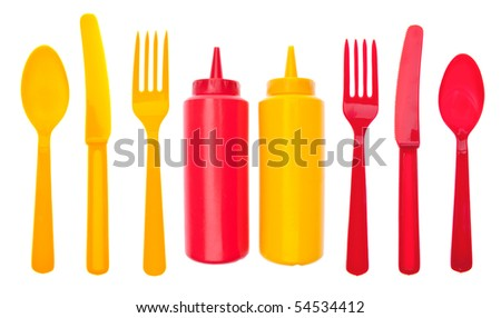 Summer Picnic Concept with Bottles of Ketchup and Mustard.  Isolated on White with a Clipping Path.