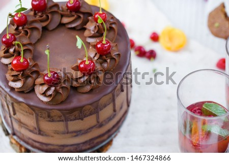 Summer picnic in nature, with a delicious chocolate cake, fruit compote, berries, wild flowers. Festive summer table with treats