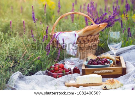 Summer - picnic in the meadow provence. Cheese brie, baguette, strawberry, cherry, wine, croissants and basket