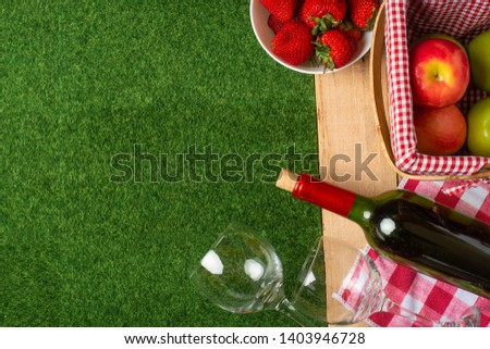 Summer picnic on the grass with a checkered tablecloth and healthy food, flat banner, red wine, glasses, fruits with copyspace