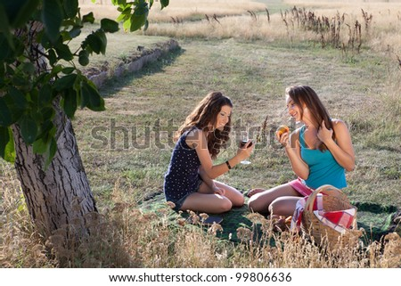 Summer picnic scene with two women sharing wine and peaches
