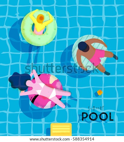 summer pool poster with pool...