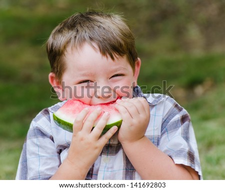 Summer portrait of cute young child eating watermelon outdoors