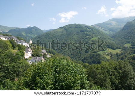 Summer Pyrenees landscape, Summer south-western France, Aydius village
