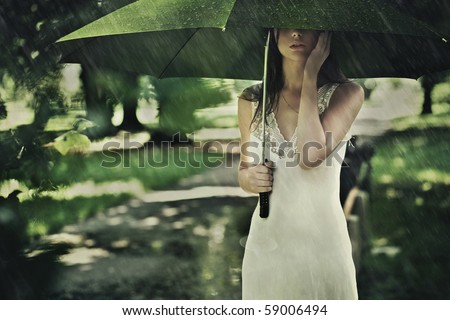 Summer rain - stock photo