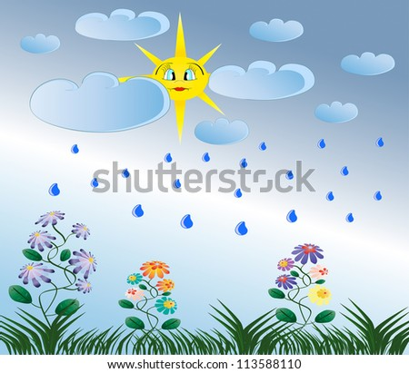 Summer rain, yellow sun, green flowers and grass nature illustration
