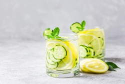 Summer refreshing drinks, lemon cucumber mint infused water. Selective focus, space for text.