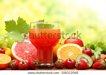 Summer refreshing juice with fruits