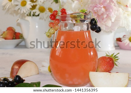 Summer refreshments and fruits, selective focus, top view, copy space ... Strawberry, pear, apple lemonade and fresh tasty strawberries and pears, chamomile flowers and mint leaves on a sunny table #1441356395