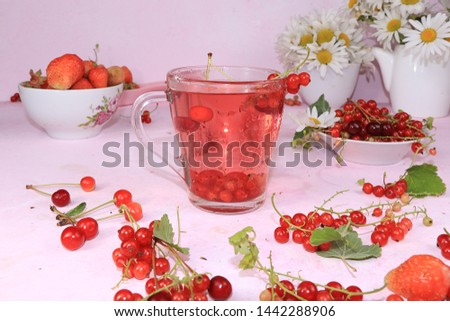 Summer refreshments and fruits, selective focus, top view, copy space ... Strawberry, pear, apple lemonade and fresh tasty strawberries and pears, chamomile flowers and mint leaves on a sunny table #1442288906