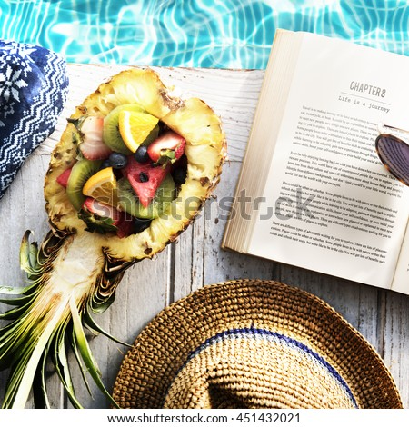 Summer Relax Poolside Reading Book Concept