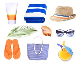 Summer resort objects collage isolated.Beach staff accessories set.Towel,hat,bag.