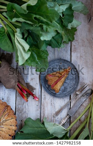 Summer rhubarb cake and rhubarb stems on old wooden background. Top view